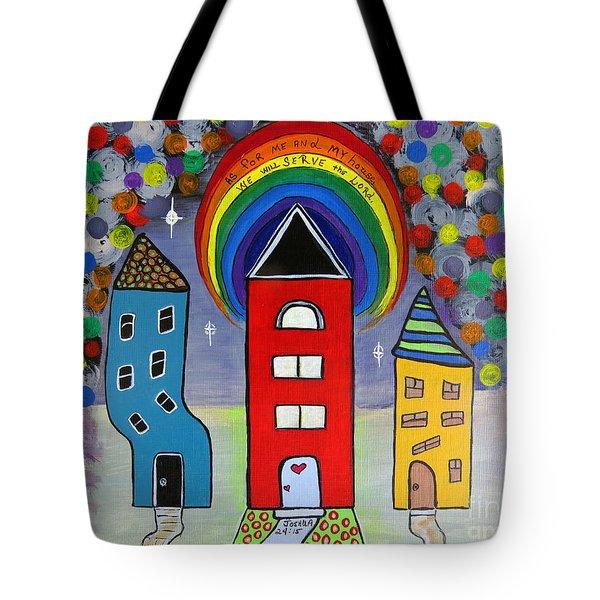 We Choose to Serve - Original Whimsical Folk Art Painting Tote Bag by Ella Kaye Dickey