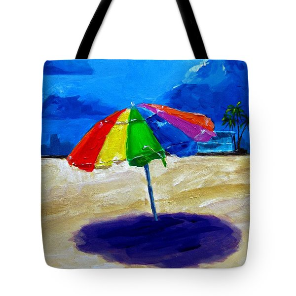 We left the umbrella under the storm Tote Bag by Patricia Awapara