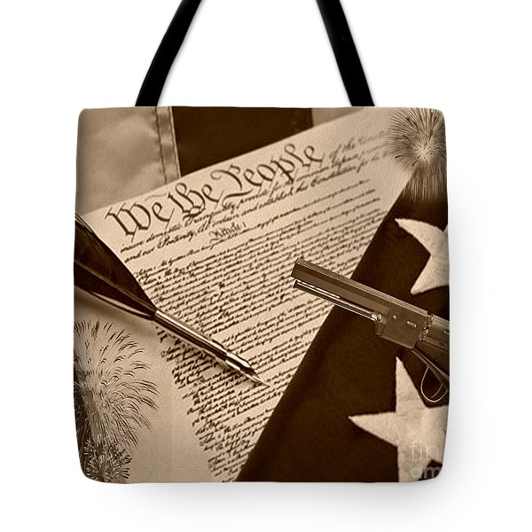 We The People sepia Tote Bag by Cheryl Young