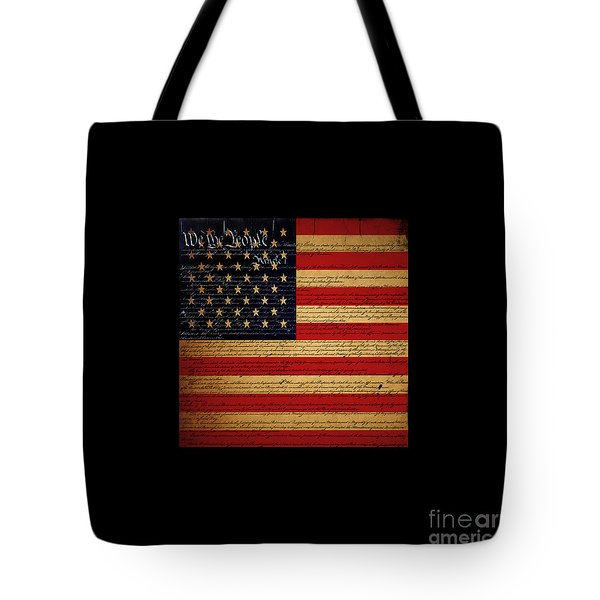 We The People - The US Constitution with Flag - square black border Tote Bag by Wingsdomain Art and Photography