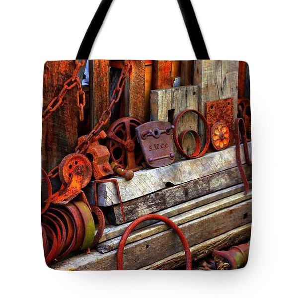 Weathered Rims And Chains Tote Bag by Marcia Lee Jones