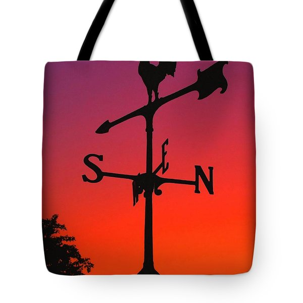 Weathervane At Sunset Tote Bag by Nick Zelinsky