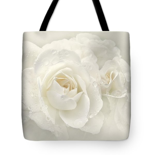 Wedding Day White Roses Tote Bag by Jennie Marie Schell