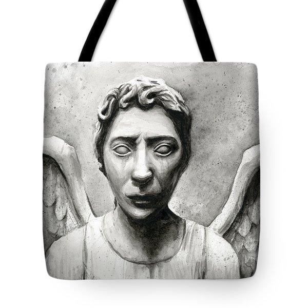 Weeping Angel Don't Blink Doctor Who Fan Art Tote Bag by Olga Shvartsur