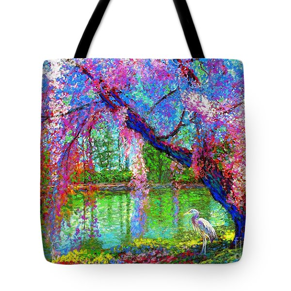 Weeping Beauty, Cherry Blossom Tree And Heron Tote Bag by Jane Small