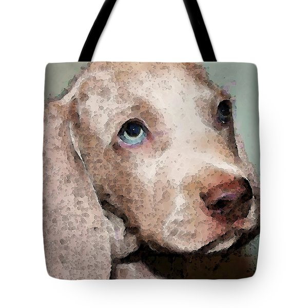 Weimaraner Dog Art - Forgive Me Tote Bag by Sharon Cummings