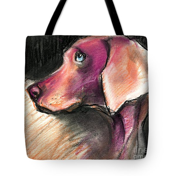 Weimaraner Dog Painting Tote Bag by Svetlana Novikova