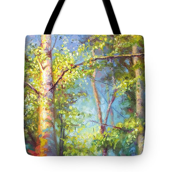 Welcome Home - Birch And Aspen Trees Tote Bag by Talya Johnson