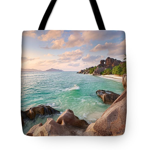 Welcome To La Digue Tote Bag by Michael Breitung