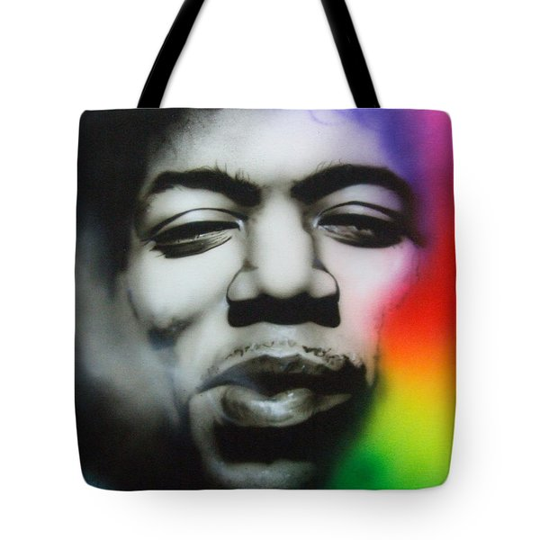 'well I Stand Up Next To A Mountain' Tote Bag by Christian Chapman Art