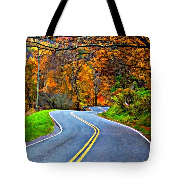 West Virginia Curves 2 Oil Tote Bag by Steve Harrington