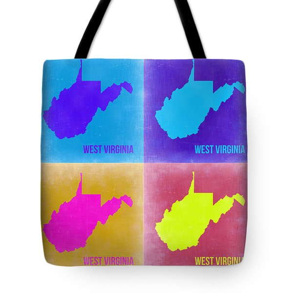 West Virginia Pop Art Map 2 Tote Bag by Naxart Studio