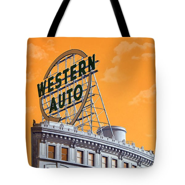 Western Auto Sign Artistic Sky Tote Bag by Andee Design