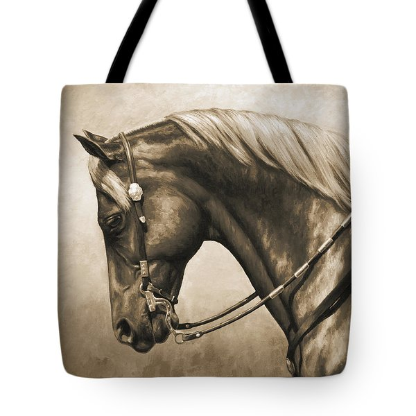 Western Horse Painting In Sepia Tote Bag by Crista Forest