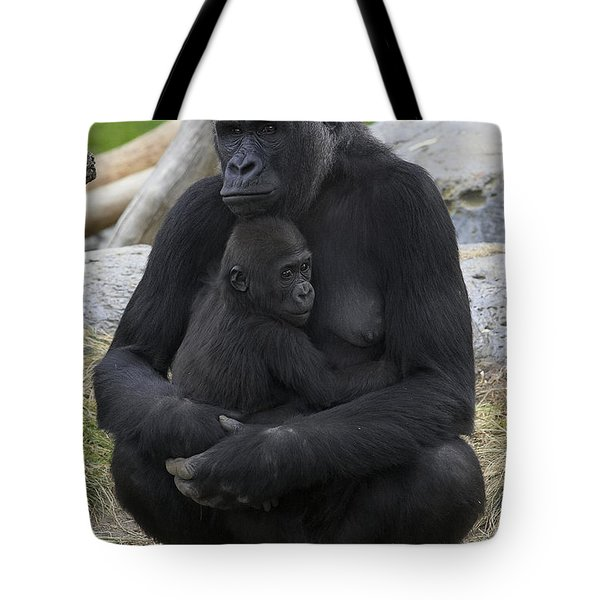 Western Lowland Gorilla Mother And Baby Tote Bag by San Diego Zoo