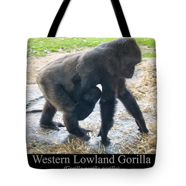 Western Lowland Gorilla With Baby Tote Bag by Chris Flees