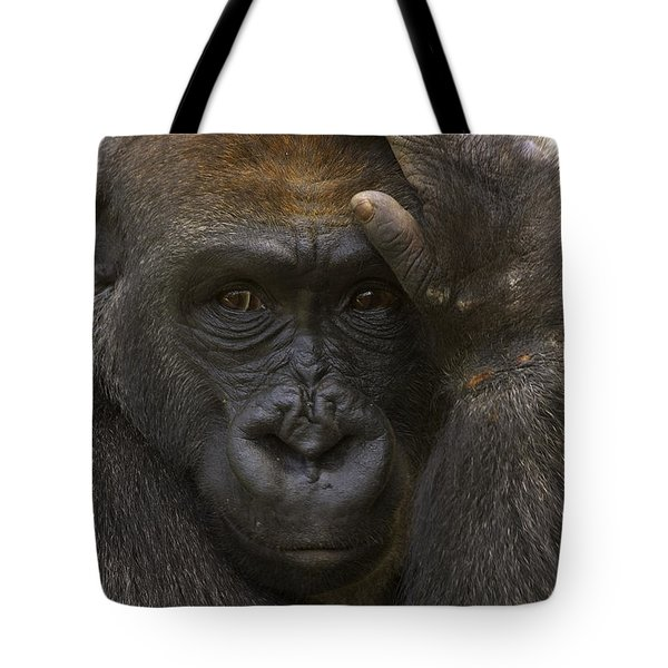 Western Lowland Gorilla With Hand Tote Bag by San Diego Zoo