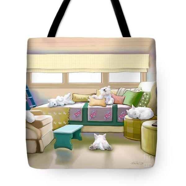 Westie Retreat  Tote Bag by Catia Cho