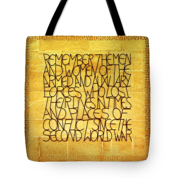 Westminster Military Memorial Tote Bag by Stephen Stookey