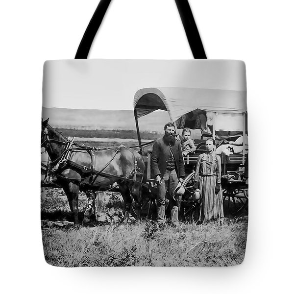 WESTWARD FAMILY IN COVERED WAGON c. 1886 Tote Bag by Daniel Hagerman