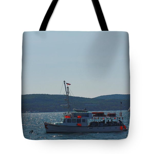 Whale Watching At Bar Harbor Tote Bag by Dora Sofia Caputo Photographic Art and Design