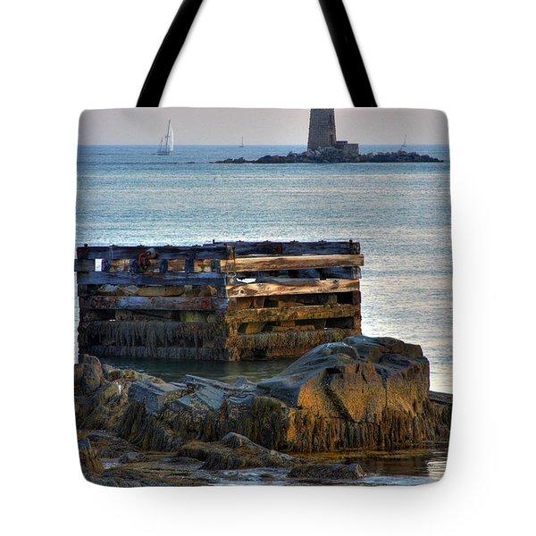 Whaleback Lighthouse Tote Bag by Brett Pelletier