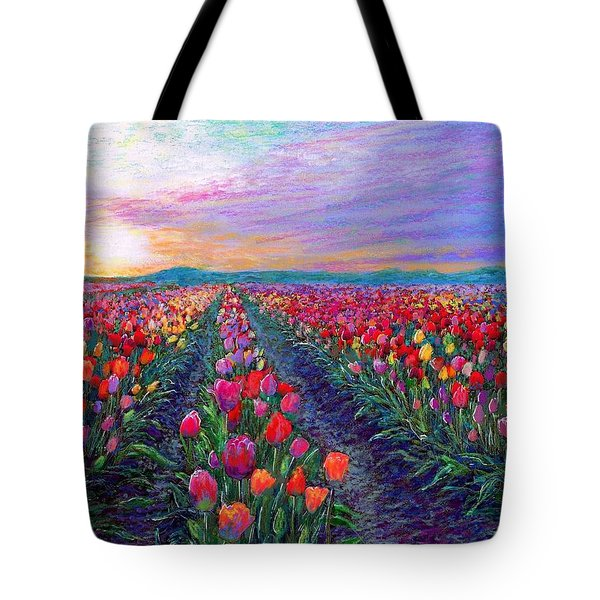 Tulip Fields, What Dreams May Come Tote Bag by Jane Small