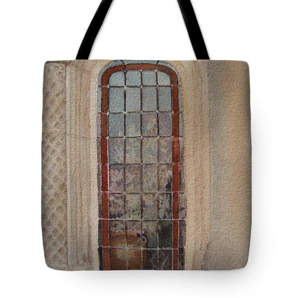 What Is Behind The Window Pane Tote Bag by Mary Ellen  Mueller Legault