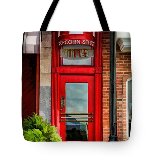 Wheaton Little Popcorn Shop Panorama Tote Bag by Christopher Arndt