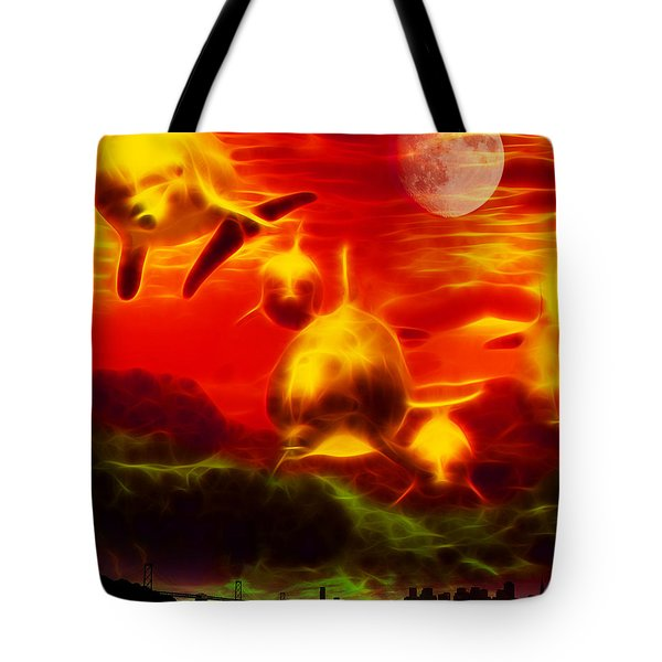 When Dolphins Cry - V2 Tote Bag by Wingsdomain Art and Photography