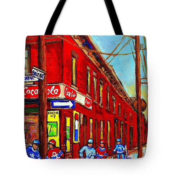 When We Were Young - Hockey Game At Piche's - Montreal Memories Of Goosevillage Tote Bag by Carole Spandau