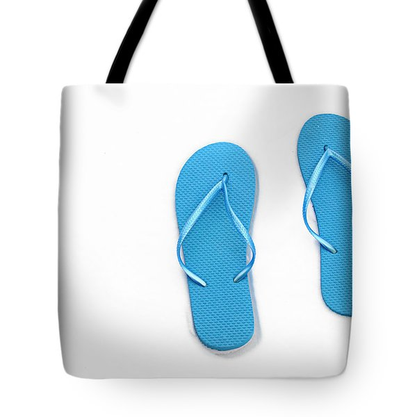 Where On Earth Is Spring - My Blue Flip Flops Are Waiting Tote Bag by Andee Design