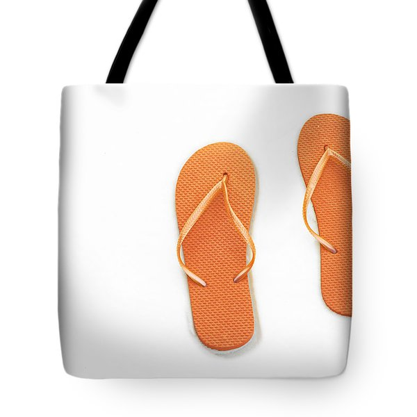 Where On Earth Is Spring - My Orange Flip Flops Are Waiting Tote Bag by Andee Design