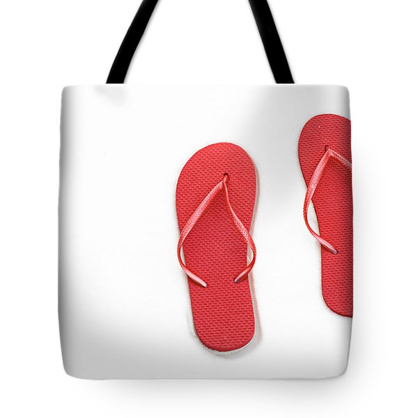 Where On Earth Is Spring - My Red Flip Flops Are Waiting Tote Bag by Andee Design
