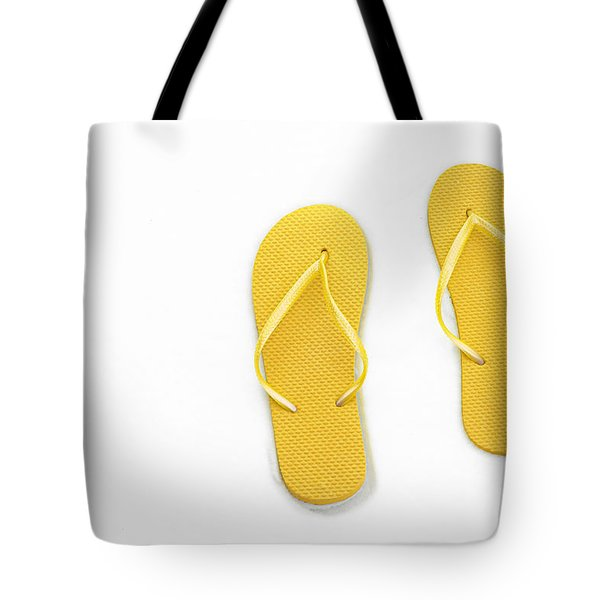 Where On Earth Is Spring - My Yellow Flip Flops Are Waiting Tote Bag by Andee Design