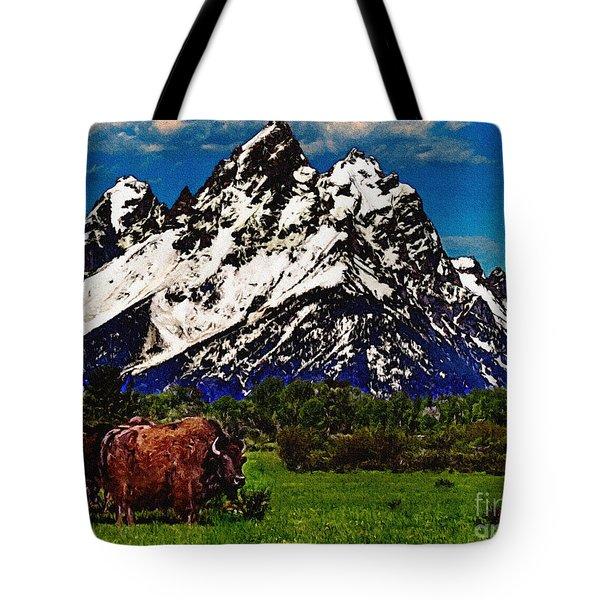 Where The Buffalo Roam Tote Bag by Bob and Nadine Johnston