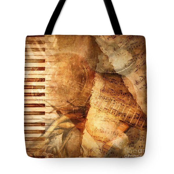 While My Guitar Gently Weeps Tote Bag by Lianne Schneider