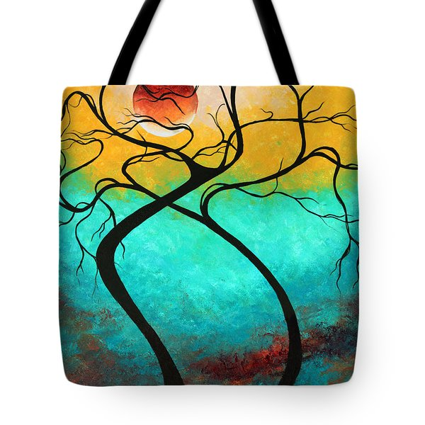 Whimsical Abstract Tree Landscape with Moon Twisting Love III by Megan Duncanson Tote Bag by Megan Duncanson