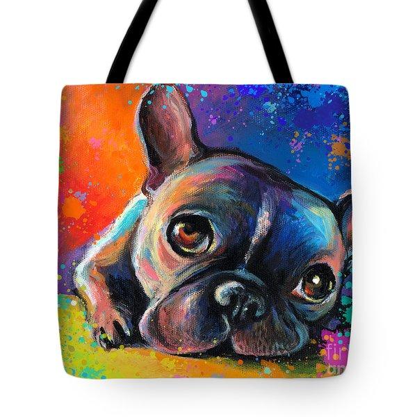Whimsical Colorful French Bulldog  Tote Bag by Svetlana Novikova