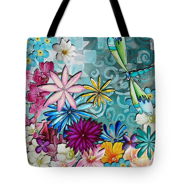 Whimsical Floral Flowers Dragonfly Art Colorful Uplifting Painting by Megan Duncanson Tote Bag by Megan Duncanson