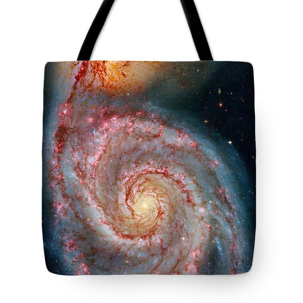 Whirlpool Galaxy In Dust Tote Bag by Benjamin Yeager