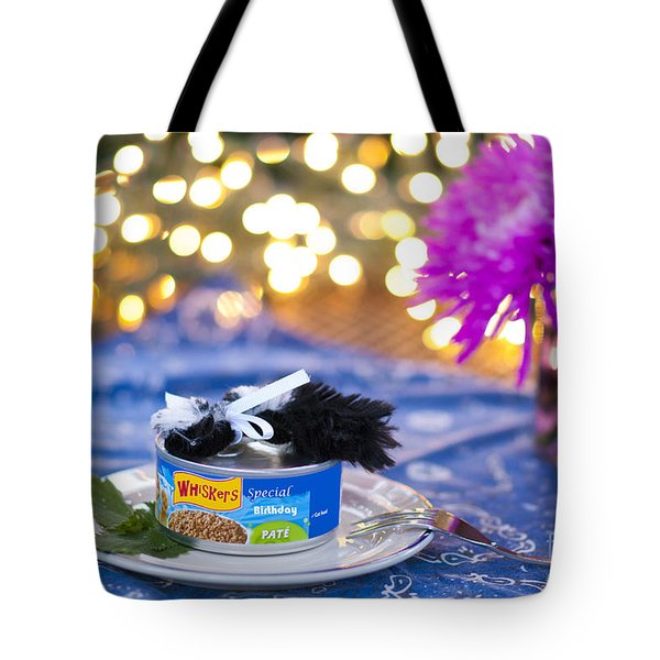 Whiskers Special Birthday Pate Tote Bag by Juli Scalzi