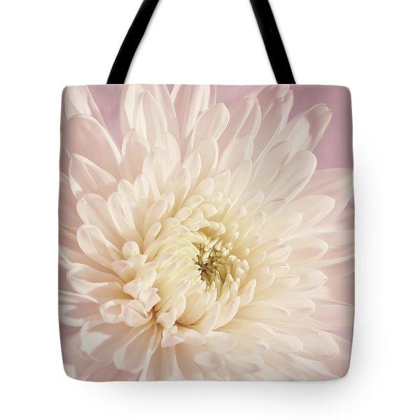 Whispering White Floral Tote Bag by Kim Hojnacki