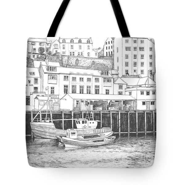 Whitby Harbour Tote Bag by Shirley Miller