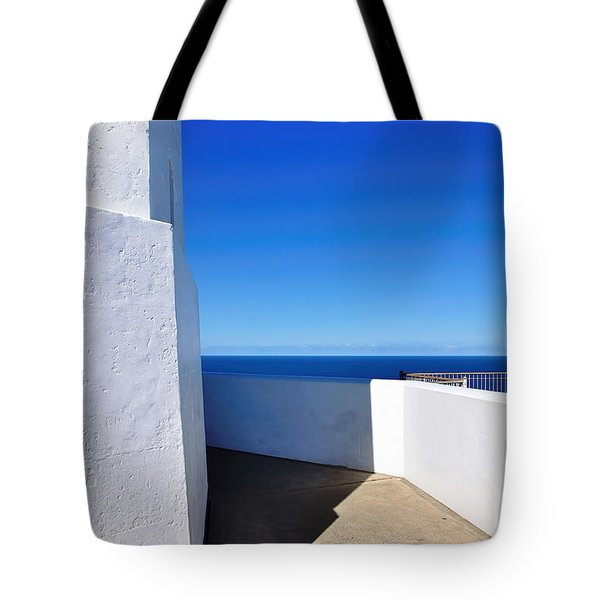 White And Blue To Ocean View Tote Bag by Kaye Menner