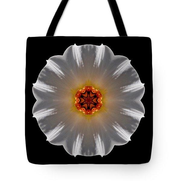 White And Orange Daffodil Flower Mandala Tote Bag by David J Bookbinder