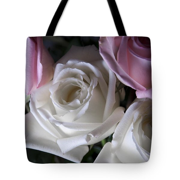 White And Pink Roses Tote Bag by Jennifer Lyon