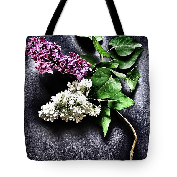 White And Purple Lilacs Tote Bag by Marianna Mills