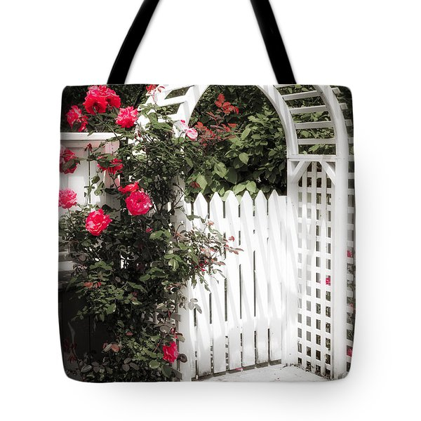 White Arbor With Red Roses Tote Bag by Elena Elisseeva