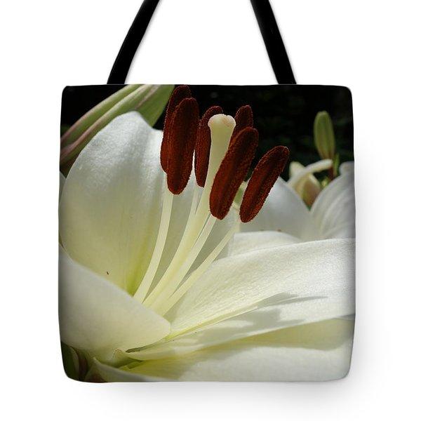 White Asiatic Lily Tote Bag by Jacqueline Athmann